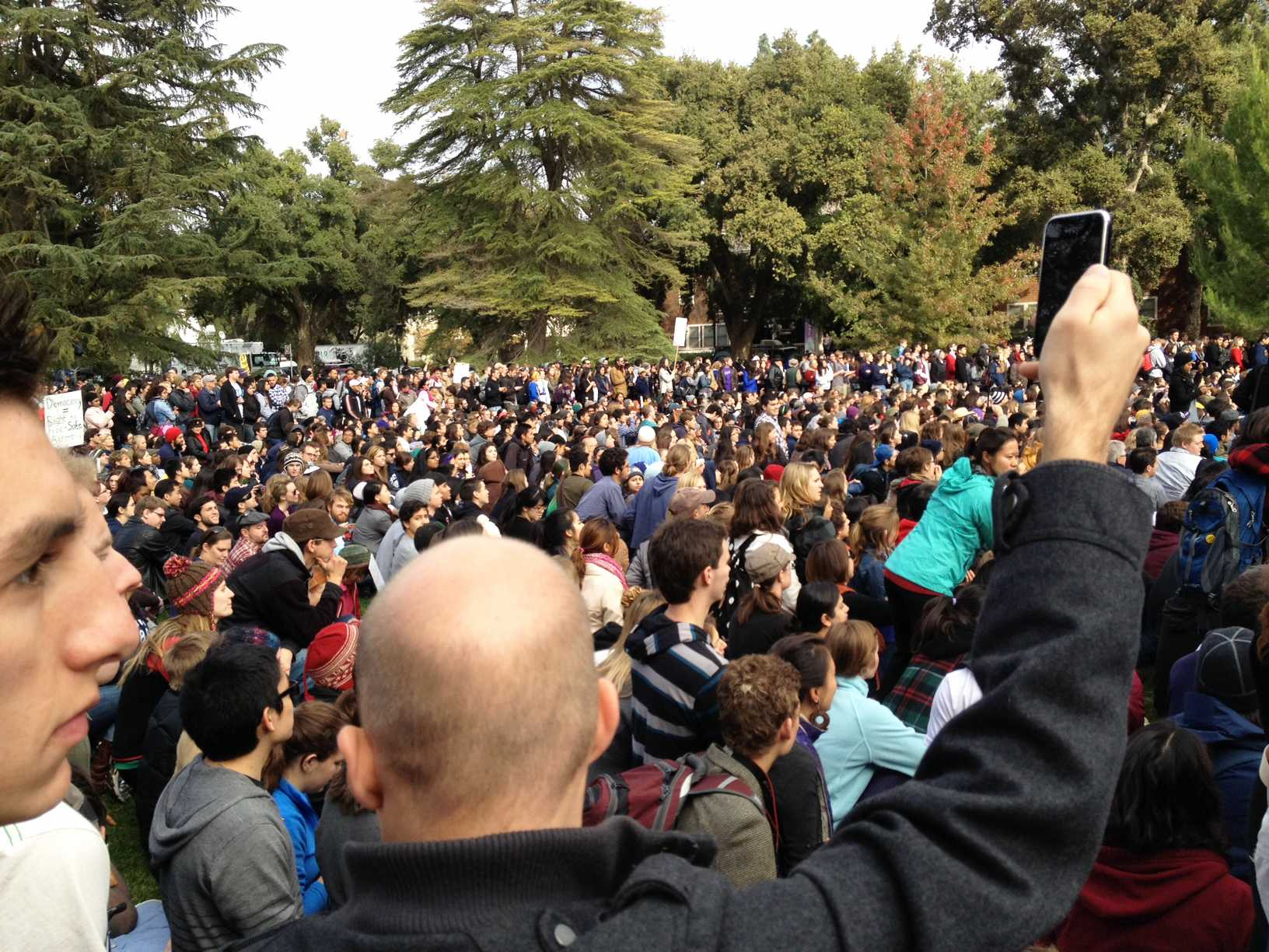 Occupy Davis: Thousands of college students attended protests at UC Davis in November. Much of the protests have been in response to the use of pepper spray against Occupy protestors on the campus quad. Photo by Melissa Uzes.