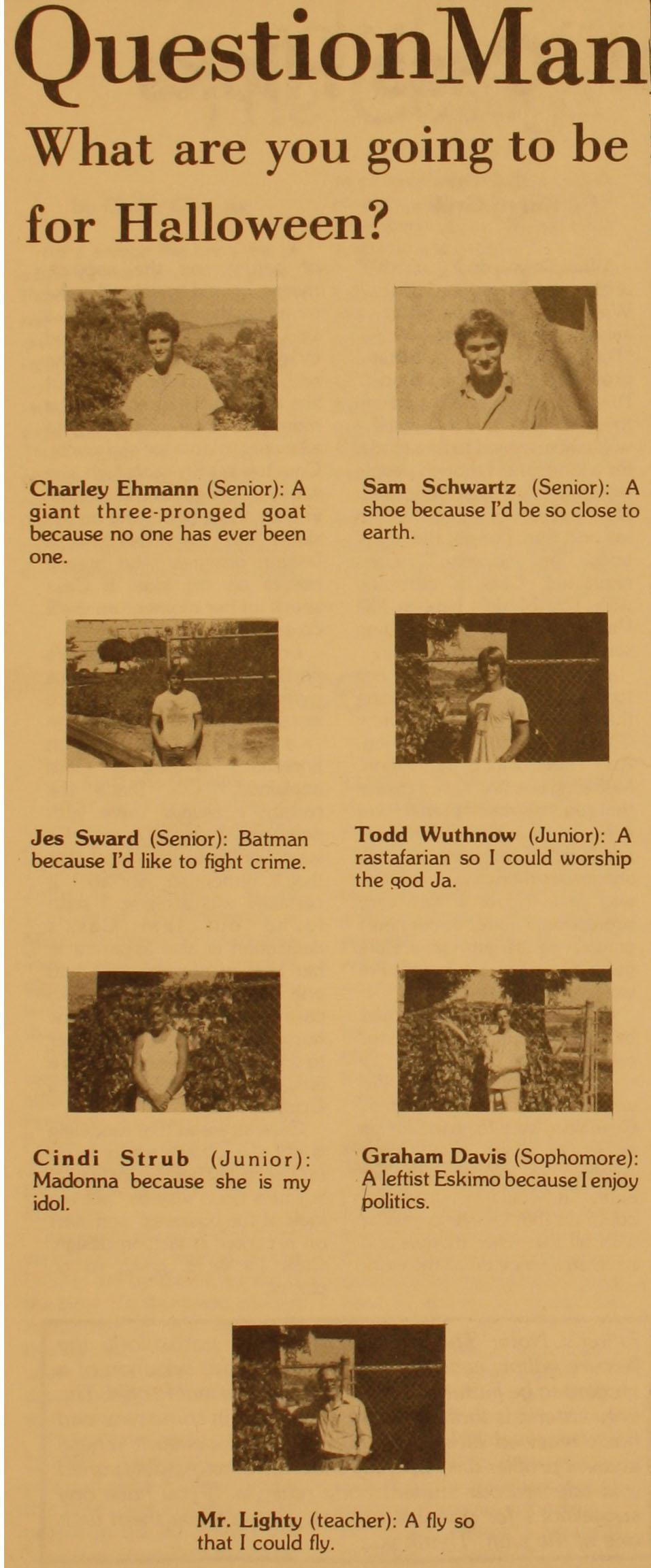 Tam students in 1985 describe their Halloween costumes.