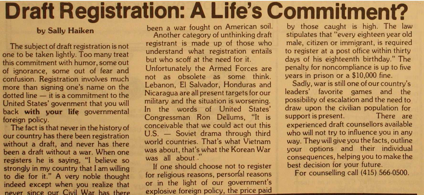 A student in 1984 comments on military drafts over the years.
