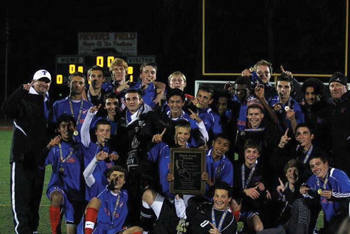 NUMBER+ONE%3A+The+boys%27+varsity+soccer+team+celebrated+their+3-1+win+over+Maria+Carillo+in+the+NCS+championship+game+on+November+10.+Photo+courtesy+of%3A+Dustin+Nygaard