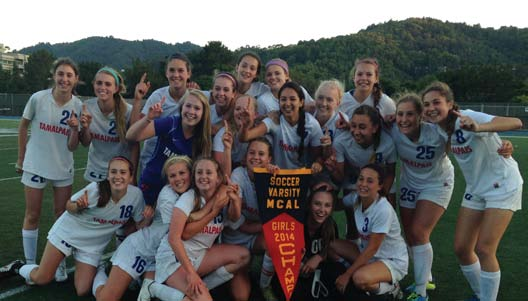 The Tam girls celebrate after defeating Marin Catholic in penalty kicks and claiming the MCAL title.