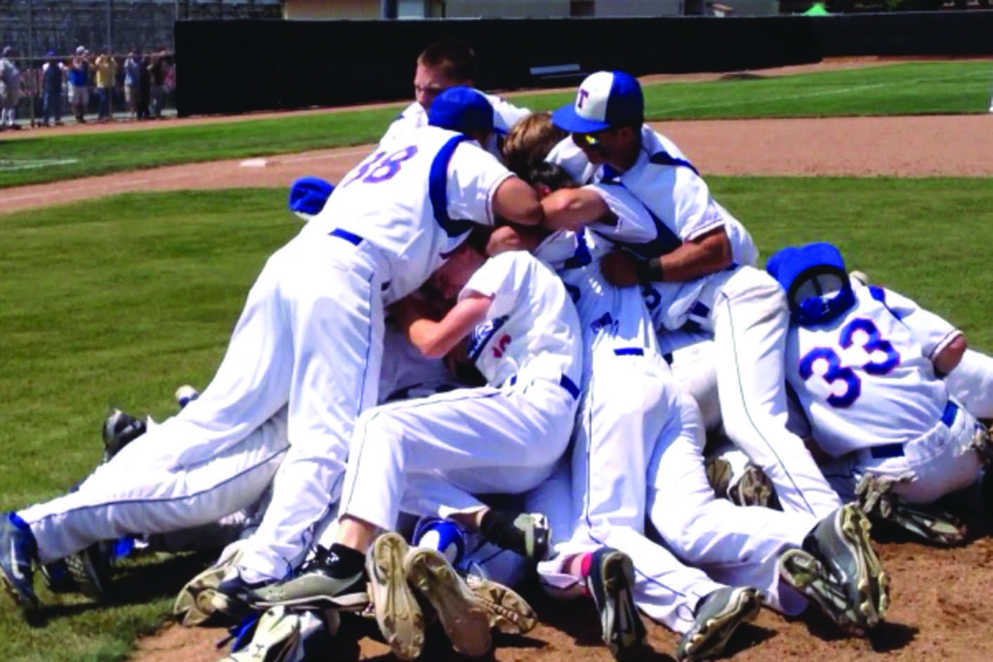 Since 1929: The  boy's baseball team runs in for a dog pile after Max Gamboa strikes out Alhambra's last batter, making them officially NCS champions for the first time in 85 years.