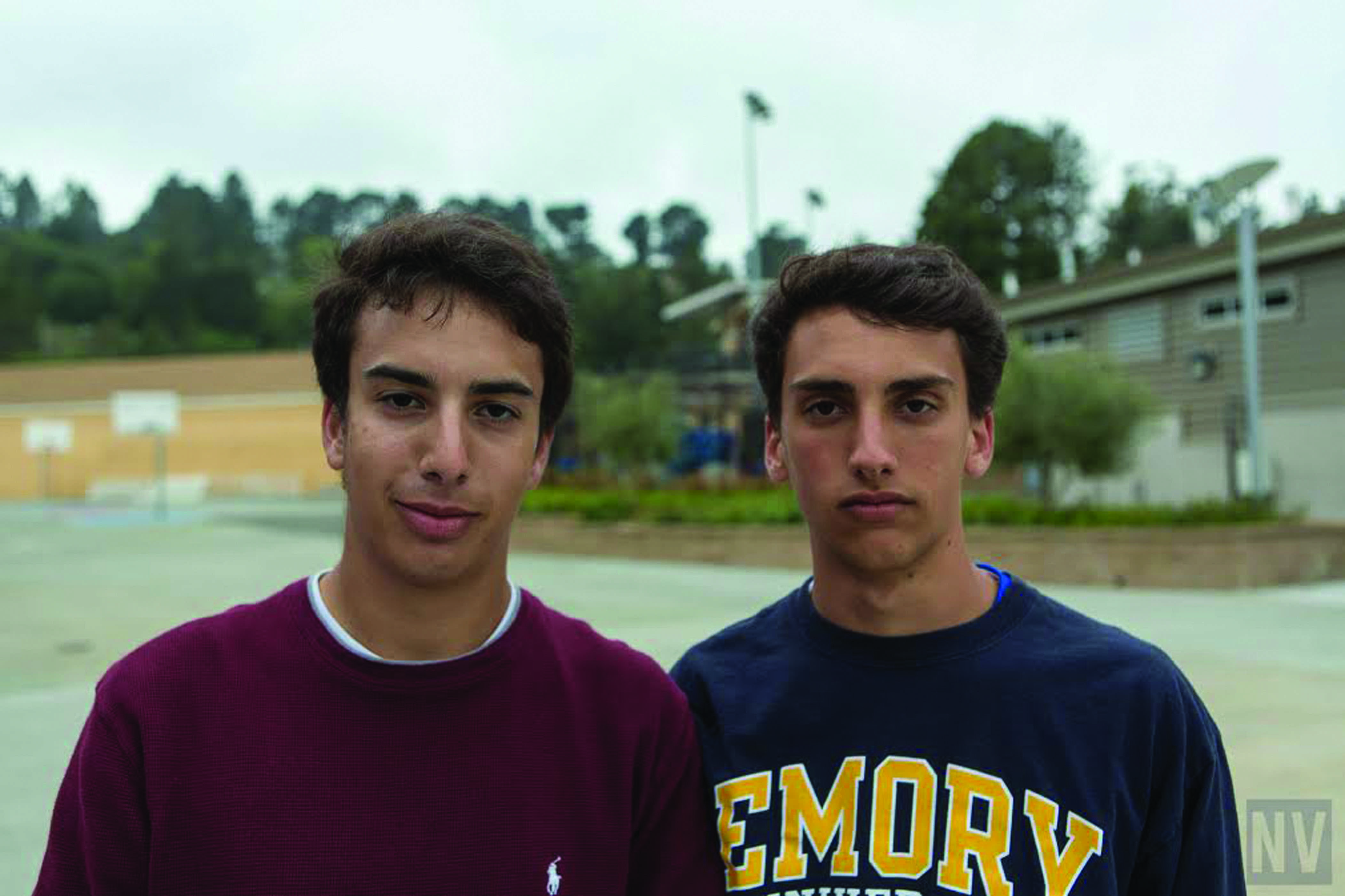 MUGGIN' IT: Seniors Reis Dorit and Alex Finci are the senior captains for the mens varsity tennis team. Dorit and Finci are the only seniors on the team and have faith in there team and are ready to fulfill the roles needed for the team.                                        Photo by: Nate Vogel