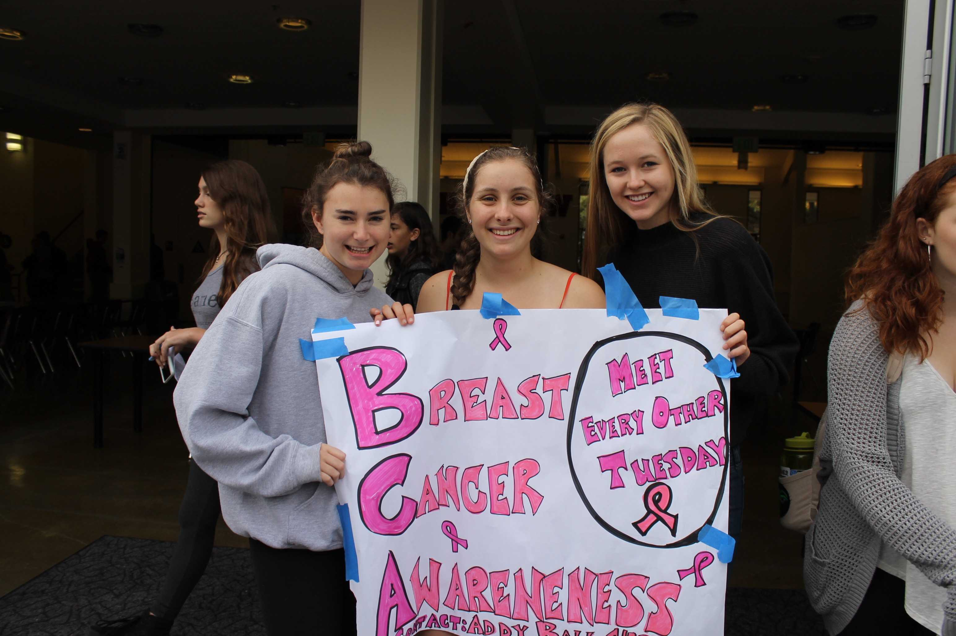 (L-R) Seniors Margaux Schumacher, Addy Ball and Brieya Moorberg recruit for BCA at Club Day.