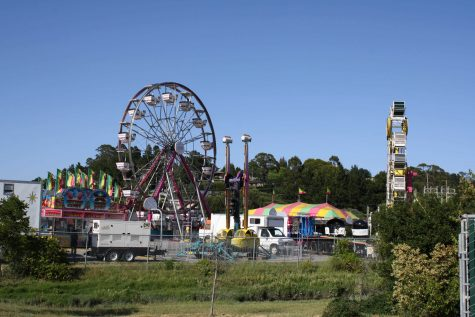 Various rides and attractions being assembled on Wednesday, May 23. Photo by Aaron Newman.