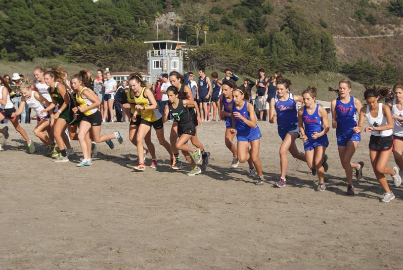 AND THEY'RE OFF: Members of the Tam girls cross country team set out at the Stinson Beach Relays.  Photo courtesy of: MJ Alves