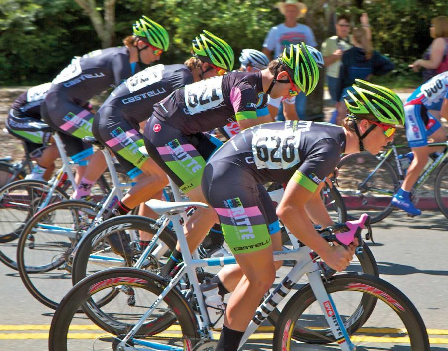 FORMATION: Bear members pedal together during a race. Photo courtesy of: Stu Bone