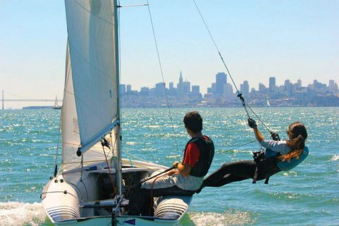 HANGING OUT: Vangelos and junior Tris Craig sail on San Francisco Bay, enjoying beautiful weather and the view of the city. Photo by: Sam Gates