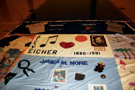 Each patch of the AIDS quilt remembers an individual victim of the disease.                 Photo by: Sonja Hutson