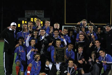 NUMBER ONE: The boys' varsity soccer team celebrated their 3-1 win over Maria Carillo in the NCS championship game on November 10. Photo courtesy of: Dustin Nygaard