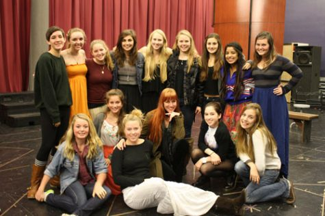 GIRL POWER: Director and cast of CTE's Julius Caesar pose for a photo during rehearsals. Photo by Emma Talkoff.