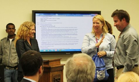 Dr. Julie Synyard being introduced by Assistant Principals Kim Stiffler and Bryan Lynch. Photo by: Emma Boczek