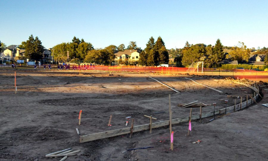 The baseball field during construction