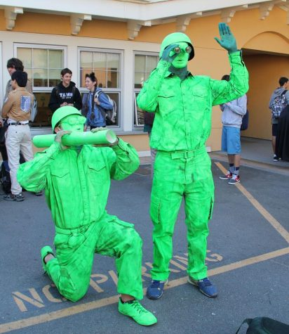Juniors Judah Van Zandt (left) and Zach Thomas (right) are toy soldiers.