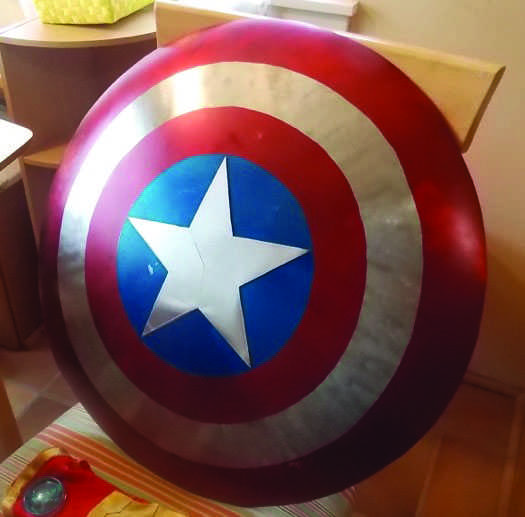 SUPERHERO TALENT: Metal and a detailed paint job bring Barella's Captain America shield to life.           Photo courtesy of: Nick Barella