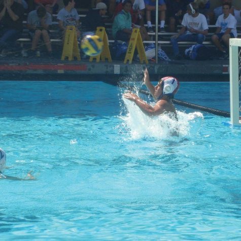 Junior Tristan Maass, starter on varsity water polo, reaches up to block a shot.