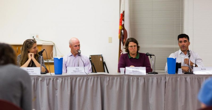 TUHSD board of trustees candidates Barbara McVeigh, Dan Oppenheim, Cynthia Roenisch, and Kevin Saavedra at a panel in October. (Ethan Swope)