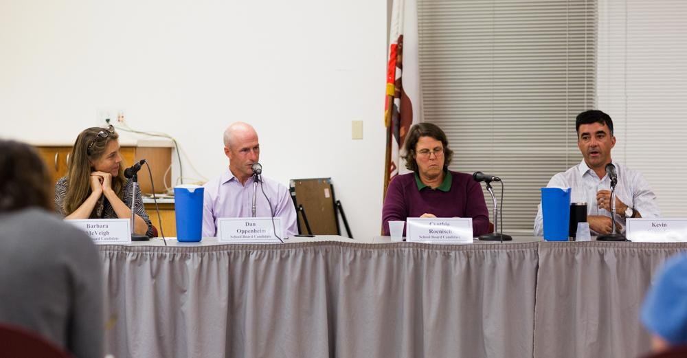 TUHSD board of trustees candidates Barbara McVeigh, Dan Oppenheim, Cynthia Roenisch, and Kevin Saavedra at a panel in October. Oppenheim, Roenisch, and Saavedra were elected on November 6.