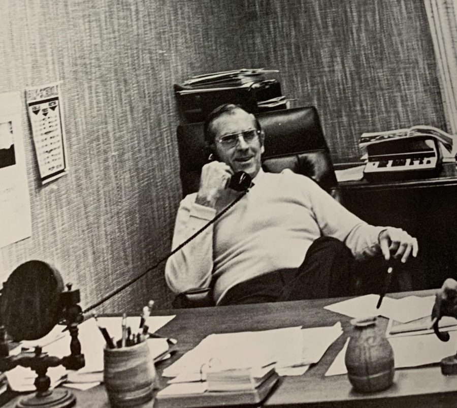 Former principal Jim Hanretty in his office .
