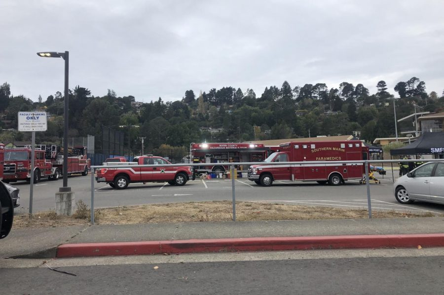 Southern Marin Fire Department responds to chemical spill at Tam pool. (Lucas Rosevear)