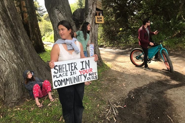 Bolinas residents protest tourists at the intersection of Mesa Road and Olema Bolinas Road.  (Courtesy of Lucian Patton)