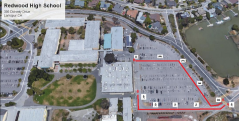 The district provided a map of the Redwood High School campus laying out how students should pick-up meals. (Tamalpais Union High School District)