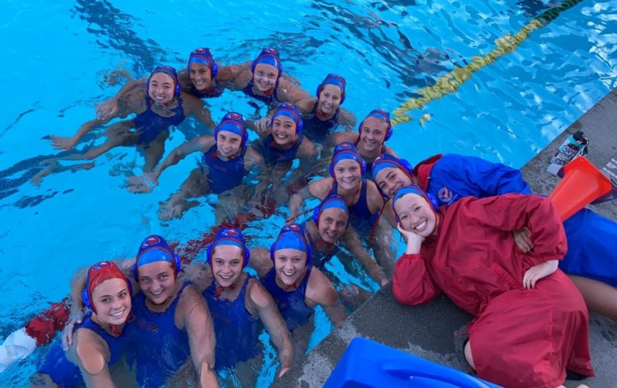 The girls varsity players smiling after their win. (Courtesy of Liza Lachter)
